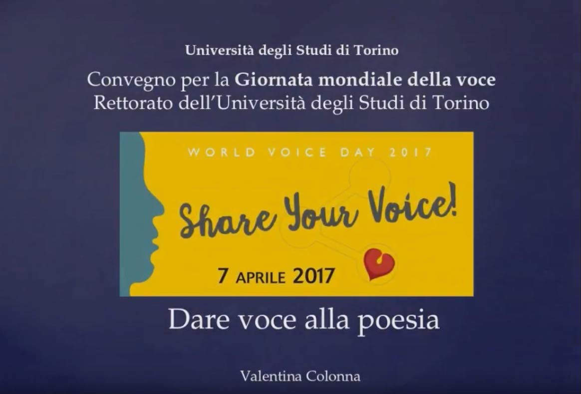 """WVD 2017 Giornata Mondiale della Voce """"Dare voce alla poesia"""" a cura di Valentina Colonna"""